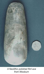 A Neolithic polished flint axe from Wooburn