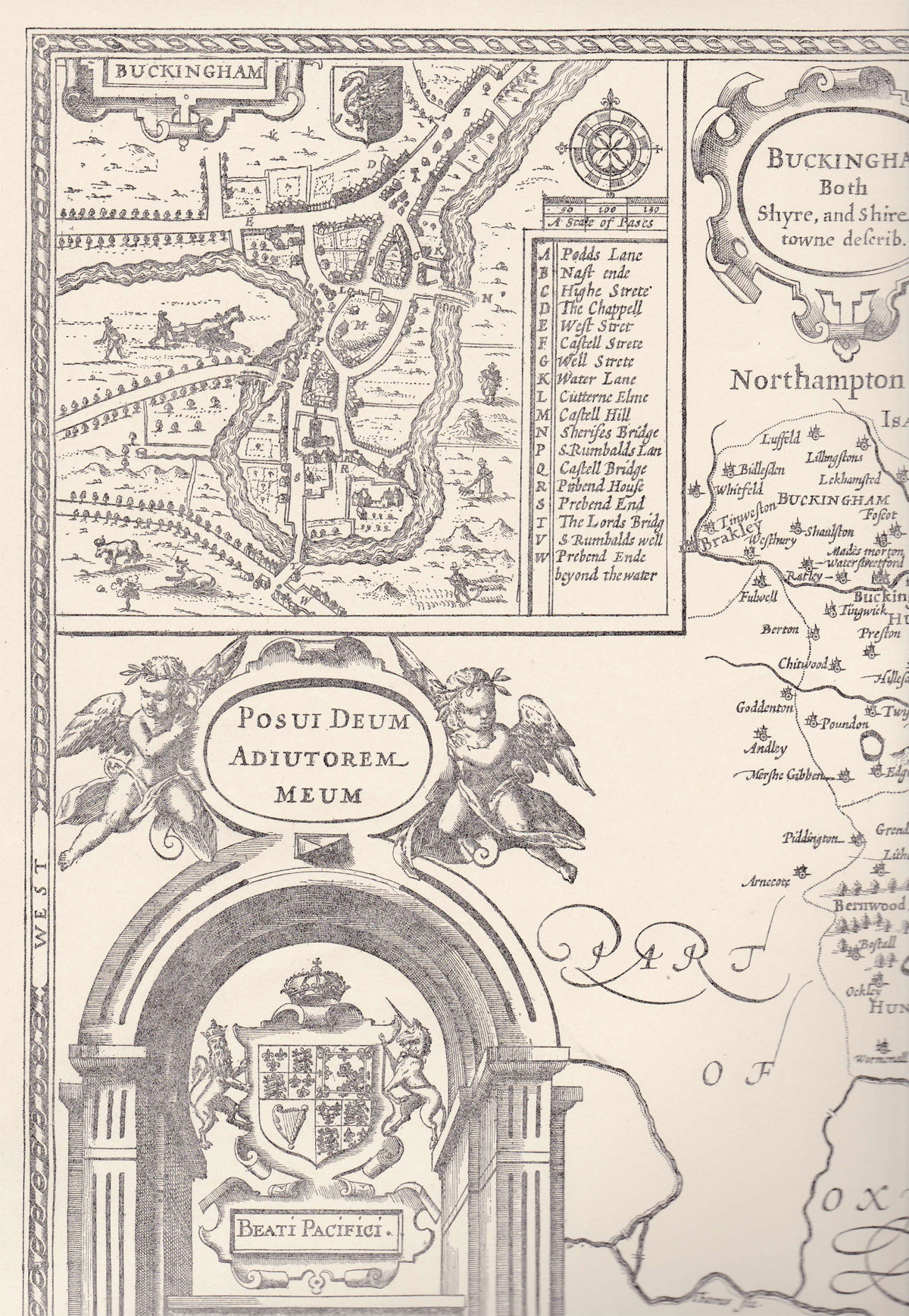 Section of John Speed's map of Bucks